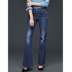 Gap Flare High Rise Button Fly Raw Hem Jeans
